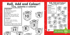 Christmas Present Colour and Roll Addition Activity English/Italian