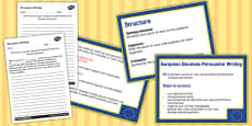European Elections Voting Persuasive Writing PowerPoint and Activity Sheet