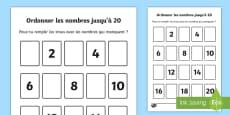 Feuille d'activités : Ordonner les nombres jusqu'à 20