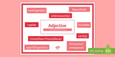 French Adjectives with Definition and Examples Display Poster