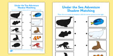Under the Sea Adventure Shadow Matching Activity Sheet
