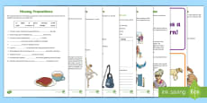 Prepositions and Prepositional Phrases Home Learning Activity Sheets