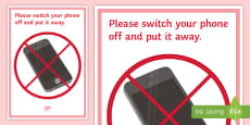 * NEW * No Mobiles A4 Display Poster