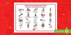 Santa's Workshop Word Mat English/Afrikaans