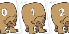 Numbers 0-50 on Brown Bear to Support Teaching on Brown Bear, Brown Bear