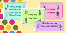 Roald Dahl Books Group Table Signs