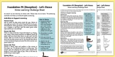 Lets Dance Home Learning Challenge Sheet