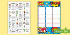 * NEW * Superhero Themed Characteristics of Effective Learning Sticker Reward Chart