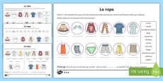 Clothes Activity Sheet Spanish