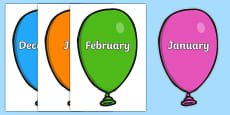 Months of the Year on Balloons