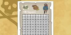 Pirate Themed 100 Number Square