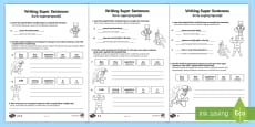Writing Super Sentences Differentiated Activity Sheets English/Romanian