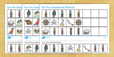 Pirates Complete the Pattern Differentiated Activity Sheet