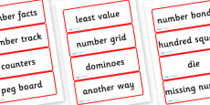 Year Four Numeracy Vocabulary Word Cards - General