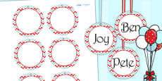 Zig Zag Birthday Party Name Tags Red And Blue
