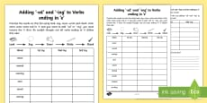 Year 2 Spelling Practice Adding -ing and -ed to Verbs Ending in 'e' Homework Activity Sheet