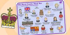 Royal Family Word Mat Romanian Translation