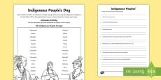 Indigenous Peoples  Day Research Activity