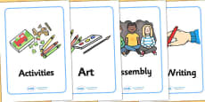 KS1 Visual Timetable (A4 Cards)