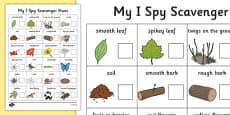 I Spy Scavenger Hunt Checklist