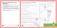 * NEW * A Midsummer Night's Dream A-Z Quiz Activity Sheet