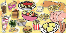 Restaurant Role Play Food Cut Outs