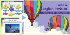 Year 4 English Revision Morning Starter Weekly PowerPoint Pack 5