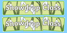 Snowdrop Themed Classroom Display Banner