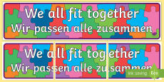 We All Fit Together Display Banner English/German
