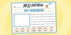 EYFS My Weekend Newspaper Writing Template