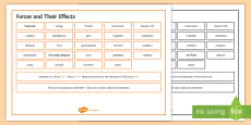 Edexcel Physics Forces and Their Effects Word Mat