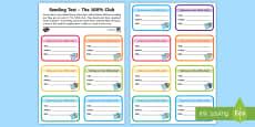 100% Reading Club Mini-Certificates