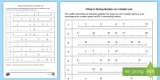 Filling in Missing Numbers on a Number Line to 20 Activity Sheet