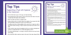 Classroom Tips for Supporting Pupils with Dyslexia Adult Guidance