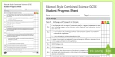 Edexcel Style Exchange and Transport in Animals Student Progress Sheet
