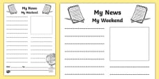 My Weekend Newspaper Writing Template