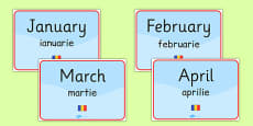 Months of the Year Signs Romanian Translation