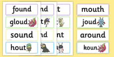Phase 5 'ou' Flashcards Real and Nonsense Words