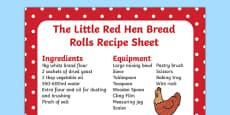The Little Red Hen Bread Rolls Recipe Sheet