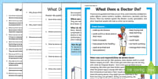 What Does a Doctor Do? Differentiated Reading Comprehension Activity