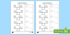 Balancing Multiplication and Division Equations Activity Sheet