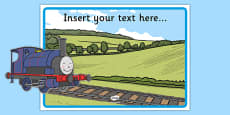 Talking Steam Train Themed Editable Poster