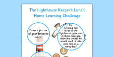 Home Learning Challenge Sheet Nursery FS1 to Support Teaching on The Lighthouse Keeper's Lunch