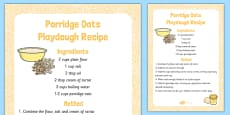 Porridge Oats Playdough Recipe