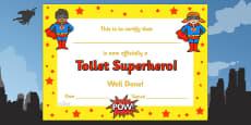 Toilet Superhero Certificate