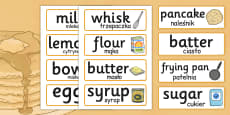 Pancake Day Recipe Word Cards Polish Translation