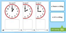 Clock Match O'Clock Game Gaeilge