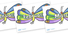 Months of the Year on Beautiful Butterflies to Support Teaching on The Very Hungry Caterpillar