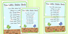 Australia - Two Little Dickie Birds Nursery Rhyme Poster