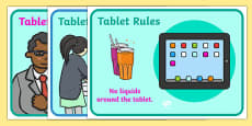 Using Tablets Safely Display Posters